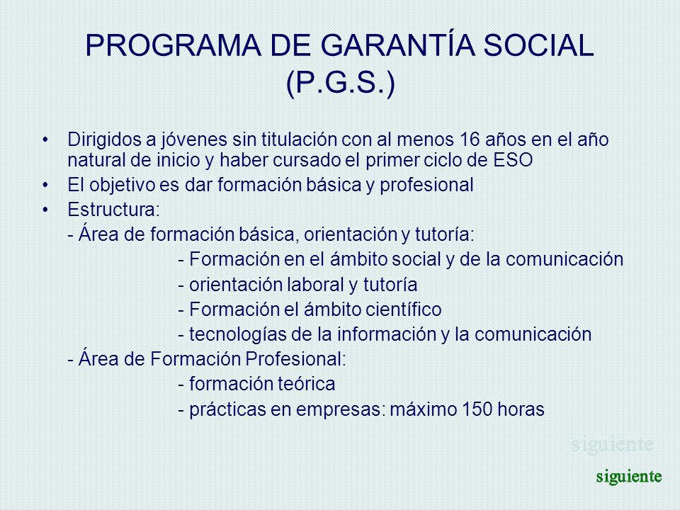 PROGRAMA DE GARANTÍA SOCIAL (P.G.S.) Dirigidos a jóvenes sin titulación con al menos 16 años en el año natural de inicio y haber cursado el primer cic