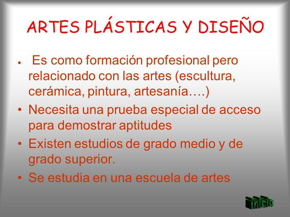 ARTES PLÁSTICAS Y DISEÑO Es como formación profesional pero relacionado con las artes (escultura, cerámica, pintura, artesanía….) Necesita una prueba