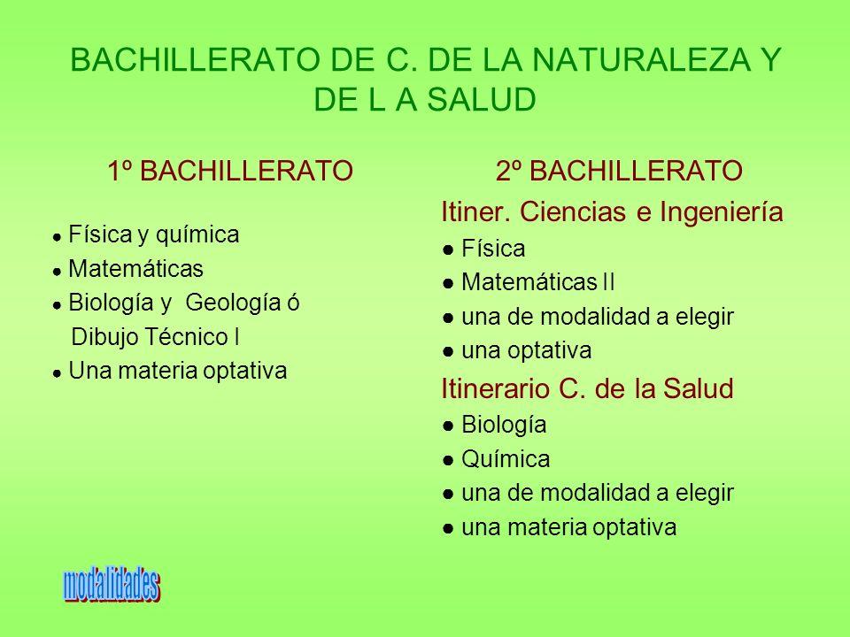 BACHILLERATO DE C. DE LA NATURALEZA Y DE L A SALUD 1º BACHILLERATO Física y química Matemáticas Biología y Geología ó Dibujo Técnico I Una materia opt