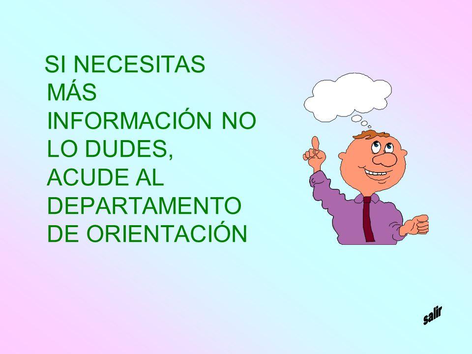 SI NECESITAS MÁS INFORMACIÓN NO LO DUDES, ACUDE AL DEPARTAMENTO DE ORIENTACIÓN