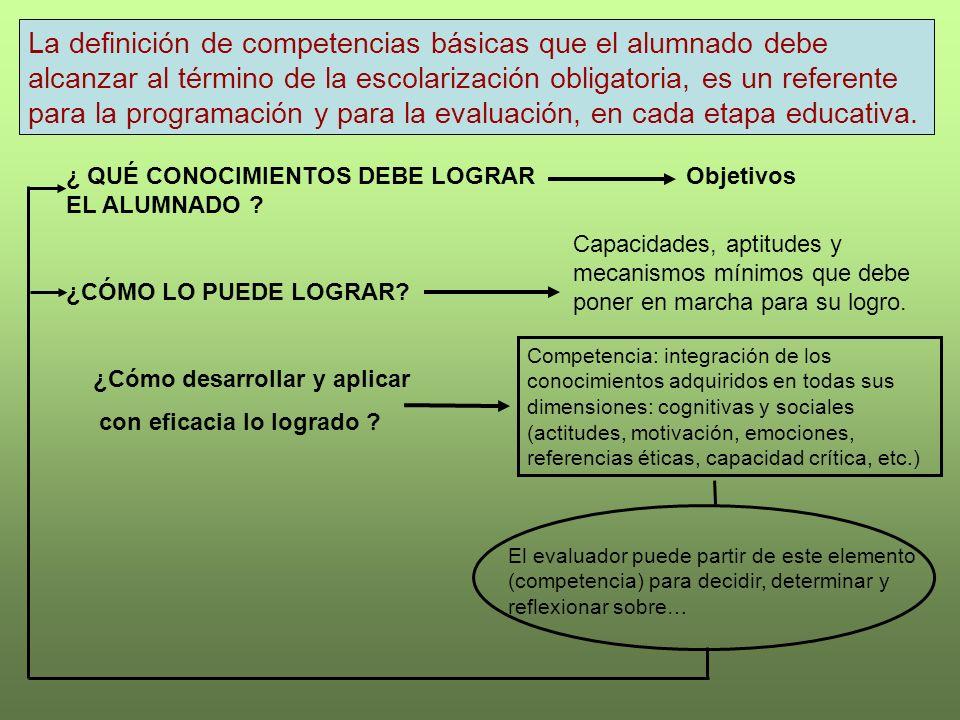 La definición de competencias básicas que el alumnado debe alcanzar al término de la escolarización obligatoria, es un referente para la programación y para la evaluación, en cada etapa educativa.
