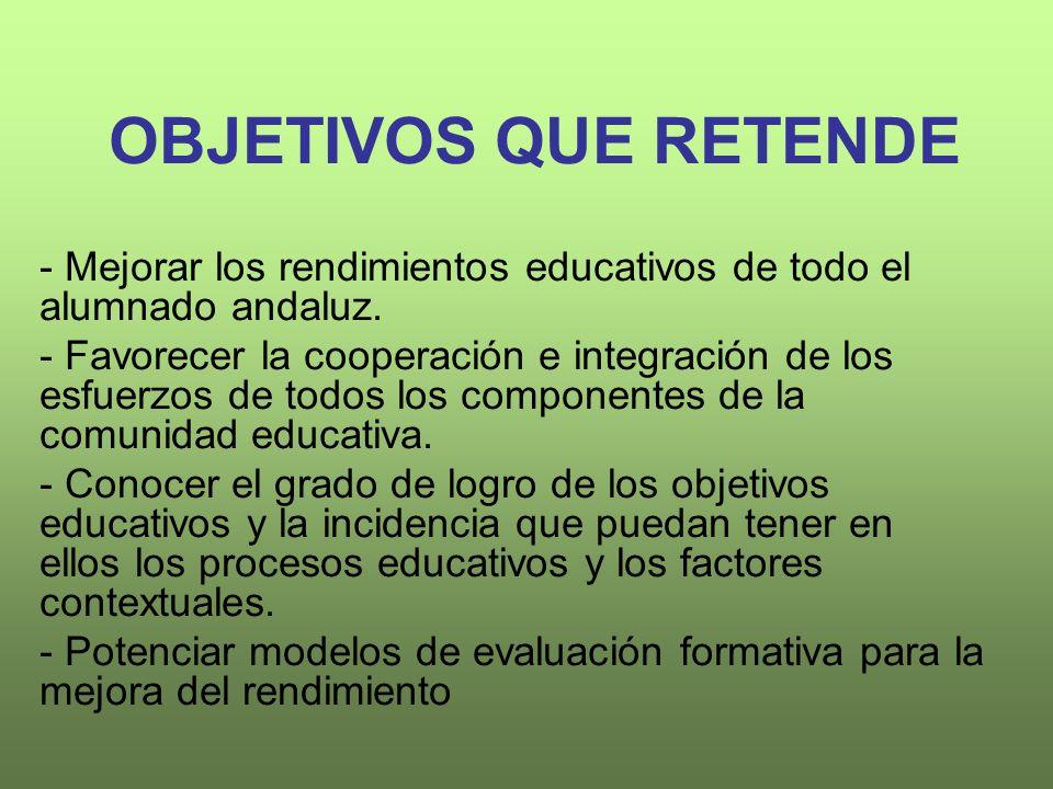 OBJETIVOS QUE RETENDE - Mejorar los rendimientos educativos de todo el alumnado andaluz.