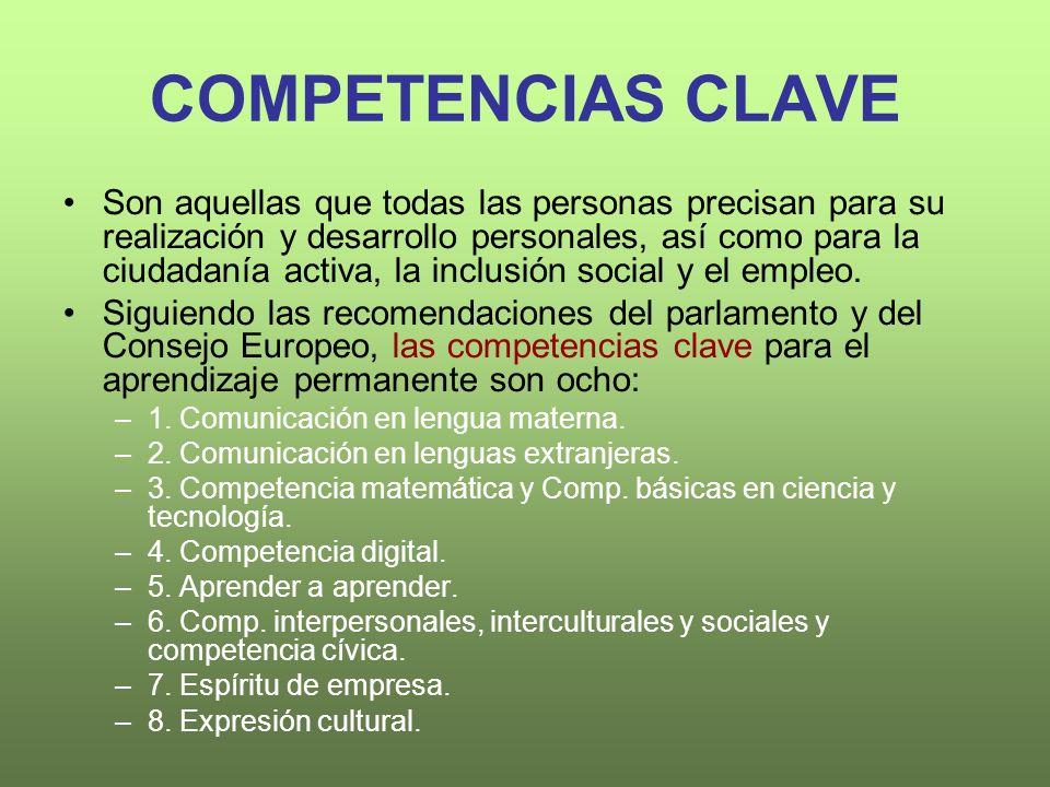 COMPETENCIAS CLAVE Son aquellas que todas las personas precisan para su realización y desarrollo personales, así como para la ciudadanía activa, la inclusión social y el empleo.