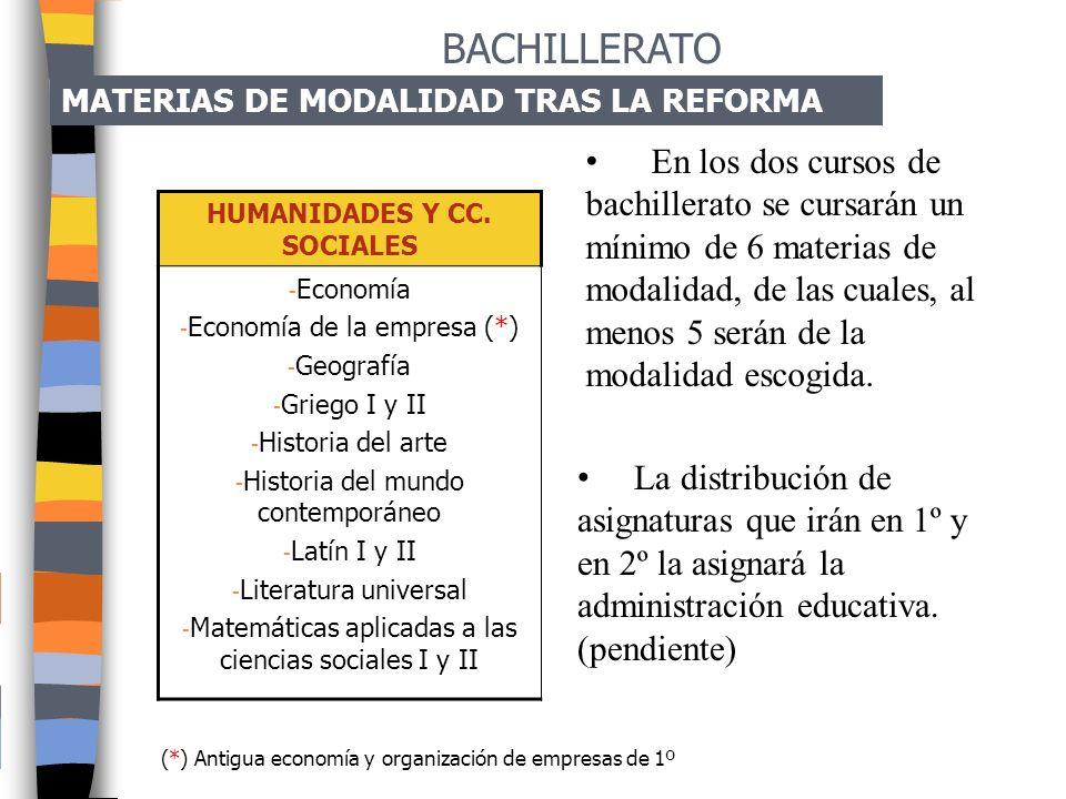 MATERIAS DE MODALIDAD (3 asignaturas por curso) HUMANIDADES Y CIENCIAS SOCIALES 1º DE BACHILLERATO2º DE BACHILLERATO - Opción A Humanística y Socio-cu