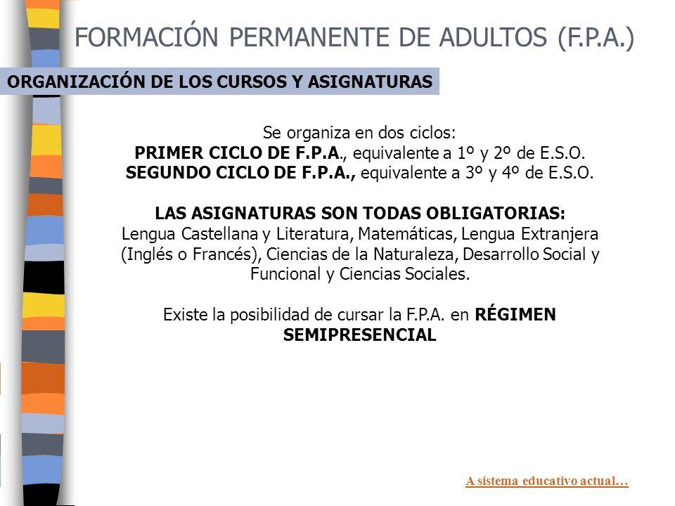 FORMACIÓN PERMANENTE DE ADULTOS (F.P.A.) Tener 18 años o cumplirlos antes del 31 de diciembre del año en que te matricules. REQUISITOS En Primer Ciclo