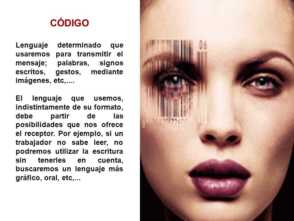 CÓDIGO Lenguaje determinado que usaremos para transmitir el mensaje; palabras, signos escritos, gestos, mediante imágenes, etc,.... El lenguaje que us