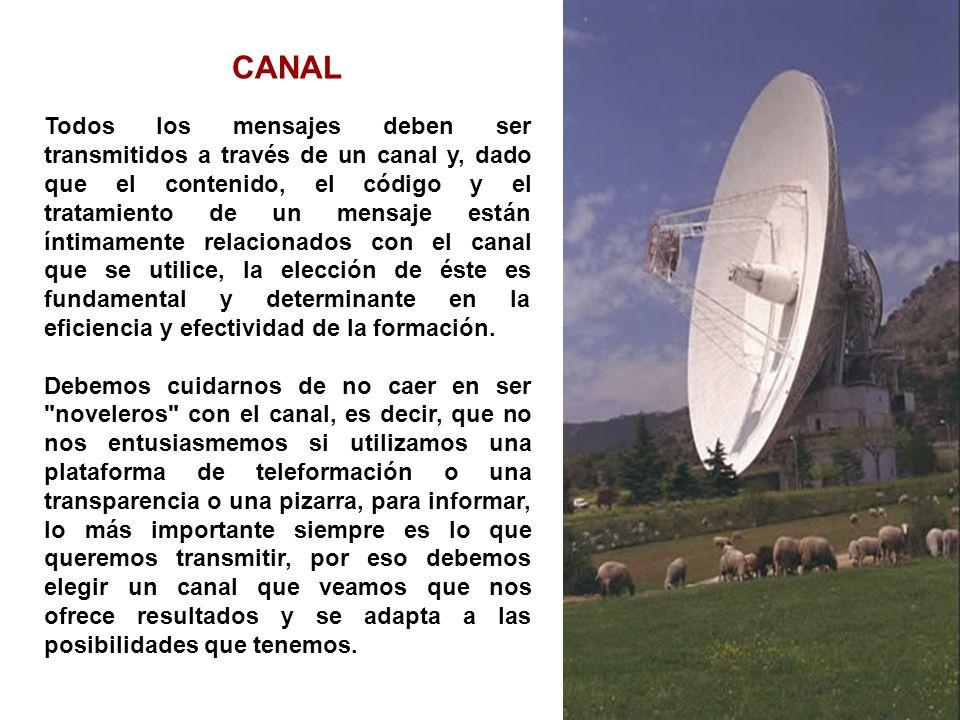 CANAL Todos los mensajes deben ser transmitidos a través de un canal y, dado que el contenido, el código y el tratamiento de un mensaje están íntimame