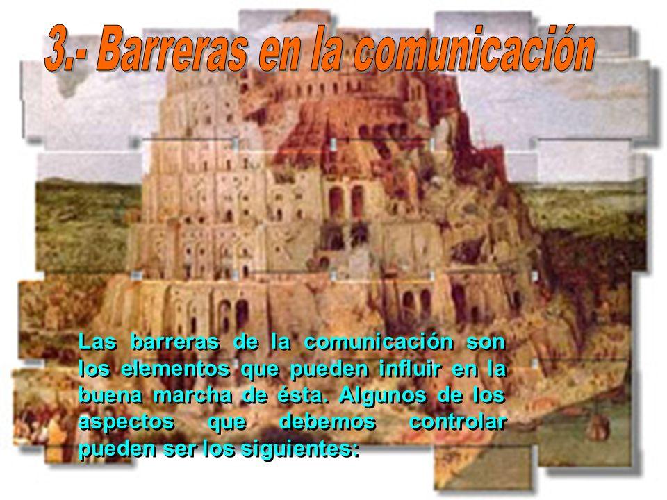 Las barreras de la comunicación son los elementos que pueden influir en la buena marcha de ésta. Algunos de los aspectos que debemos controlar pueden