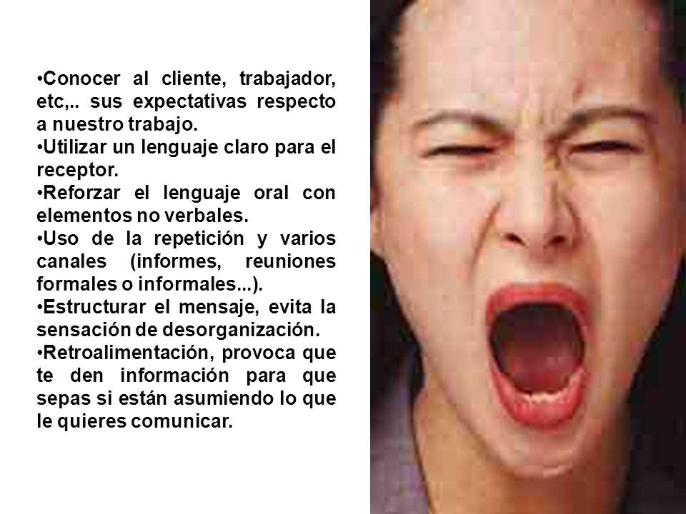 Conocer al cliente, trabajador, etc,.. sus expectativas respecto a nuestro trabajo. Utilizar un lenguaje claro para el receptor. Reforzar el lenguaje