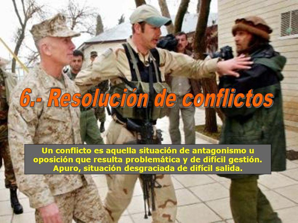 Un conflicto es aquella situación de antagonismo u oposición que resulta problemática y de difícil gestión. Apuro, situación desgraciada de difícil sa