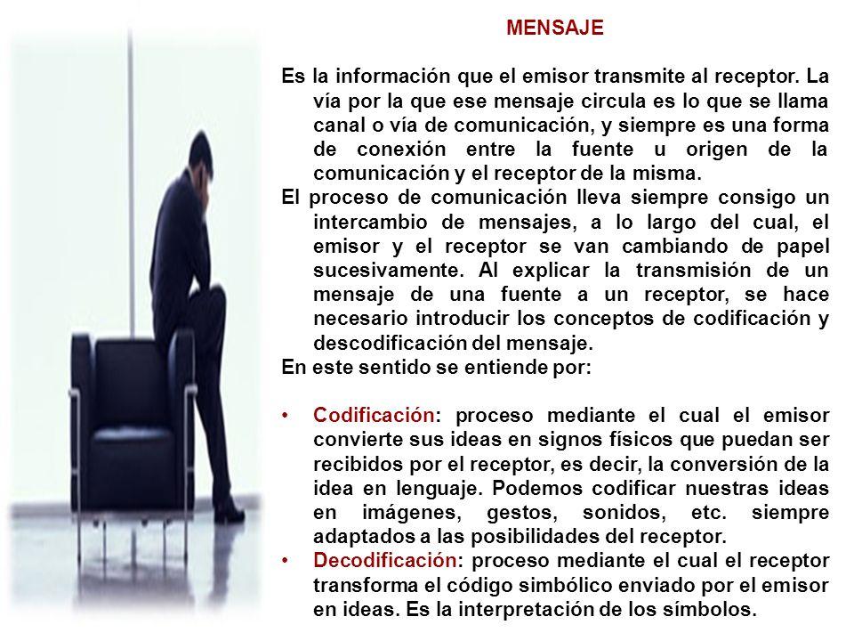 MENSAJE Es la información que el emisor transmite al receptor. La vía por la que ese mensaje circula es lo que se llama canal o vía de comunicación, y