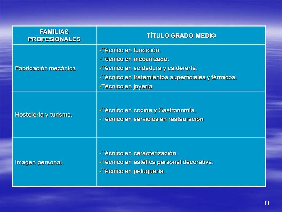 11 FAMILIAS PROFESIONALES TÍTULO GRADO MEDIO Fabricación mecánica -Técnico en fundición. -Técnico en mecanizado. -Técnico en soldadura y calderería. -