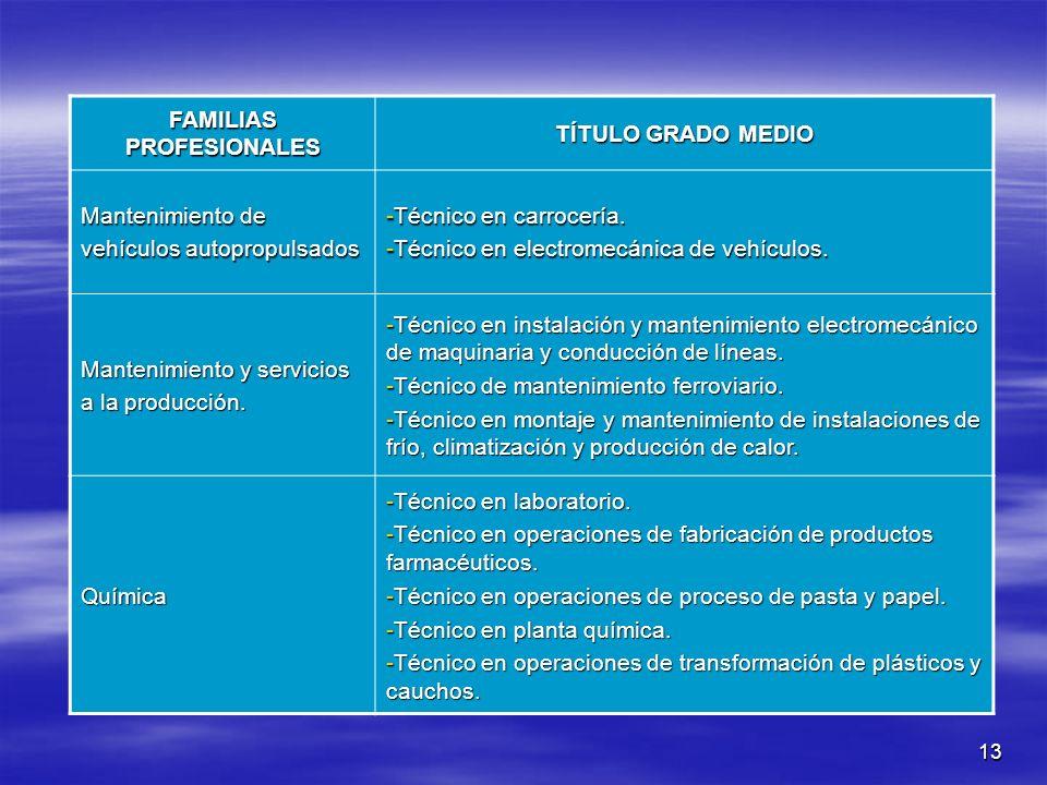 13 FAMILIAS PROFESIONALES TÍTULO GRADO MEDIO Mantenimiento de vehículos autopropulsados -Técnico en carrocería. -Técnico en electromecánica de vehícul