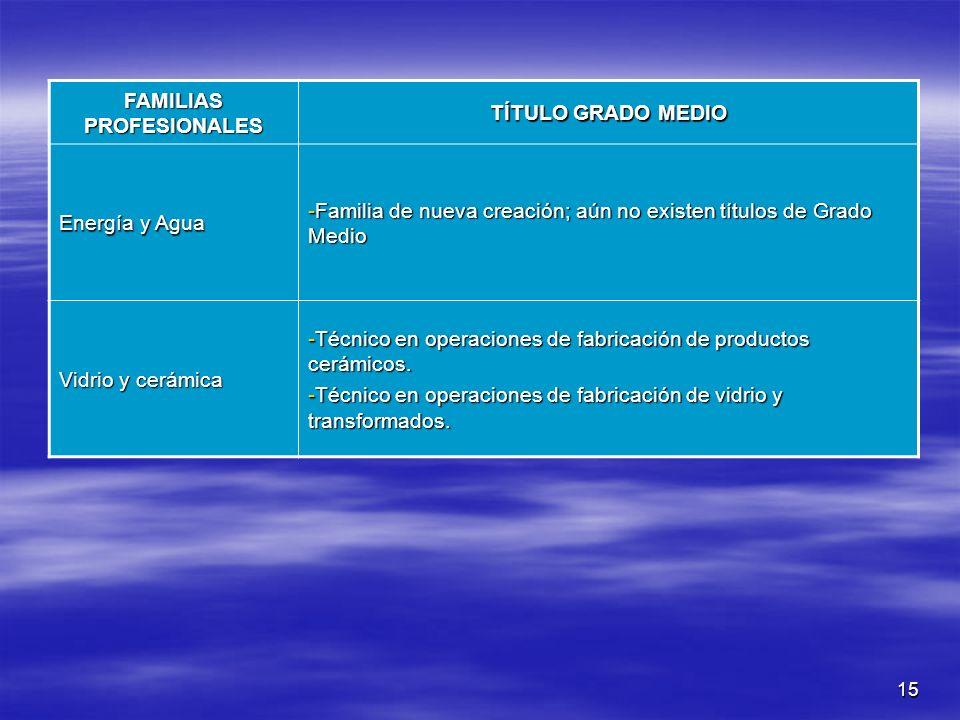 15 FAMILIAS PROFESIONALES TÍTULO GRADO MEDIO Energía y Agua -Familia de nueva creación; aún no existen títulos de Grado Medio Vidrio y cerámica -Técni