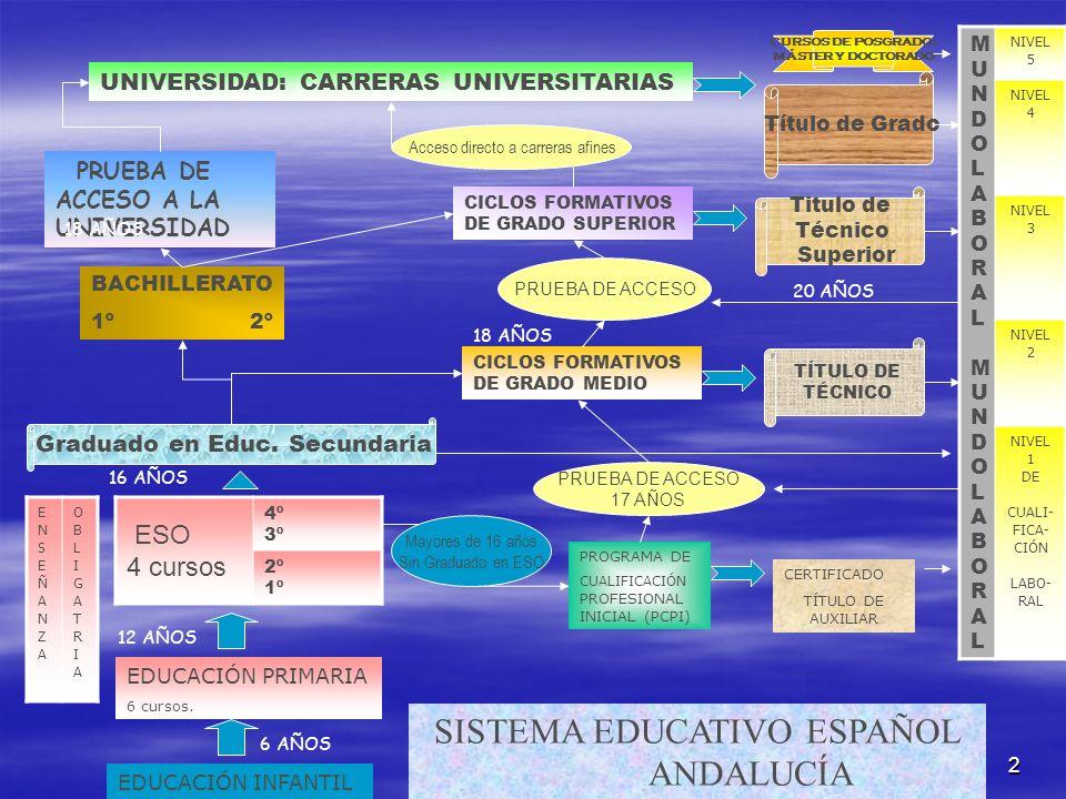 2 SISTEMA EDUCATIVO ESPAÑOL ANDALUCÍA EDUCACIÓN INFANTIL 6 AÑOS EDUCACIÓN PRIMARIA 6 cursos. 12 AÑOS ESO 4 cursos 4º 3º 2º 1º ENSEÑANZAENSEÑANZA OBLIG