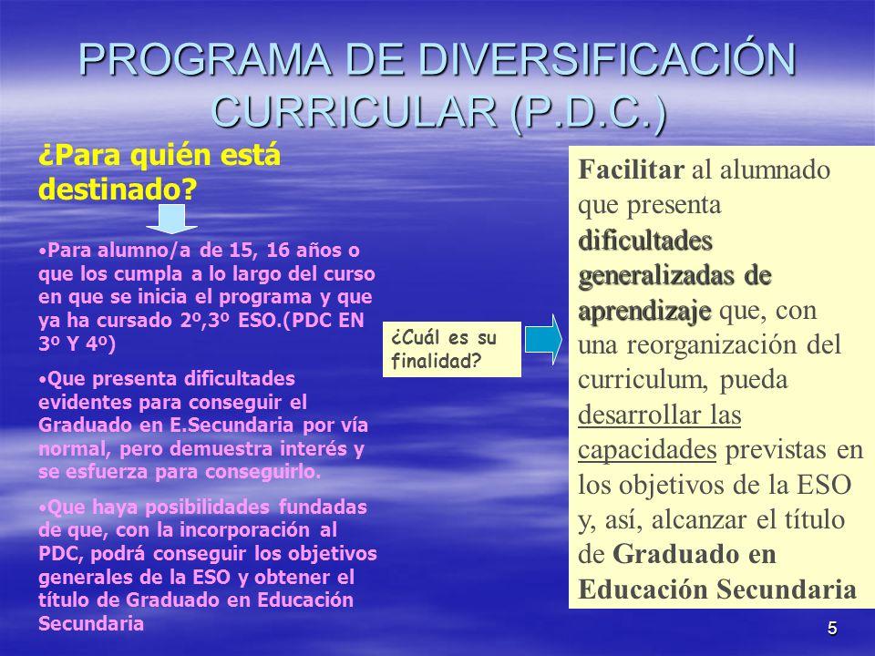 5 PROGRAMA DE DIVERSIFICACIÓN CURRICULAR (P.D.C.) ¿Para quién está destinado? Para alumno/a de 15, 16 años o que los cumpla a lo largo del curso en qu
