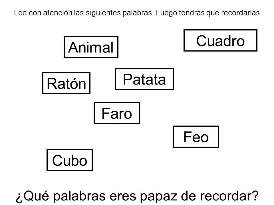 Lee con atención las siguientes palabras. Luego tendrás que recordarlas ¿Qué palabras eres papaz de recordar? Animal Feo Ratón Cubo Faro Patata Cuadro