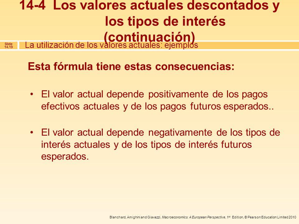Blanchard, Amighini and Giavazzi, Macroeconomics: A European Perspective, 1 st Edition, © Pearson Education Limited 2010 Slide 14.19 Esta fórmula tien