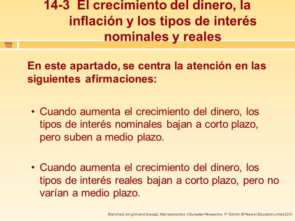 Blanchard, Amighini and Giavazzi, Macroeconomics: A European Perspective, 1 st Edition, © Pearson Education Limited 2010 Slide 14.20 Para centrar la atención en los efectos de la sucesión de pagos en el valor actual, supongamos que se espera que los tipos de interés se mantengan constantes; en ese caso, La utilización de los valores actuales: ejemplos Tipos de interés constantes Cuando los pagos son iguales -llamémoslos z- la fórmula del valor actual se simplifica: 14-4 Los valores actuales descontados y los tipos de interés (continuación)