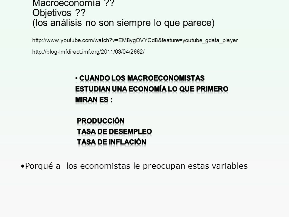 Macroeconomía ?? Objetivos ?? (los análisis no son siempre lo que parece) http://www.youtube.com/watch?v=EM8ygOVYCd8&feature=youtube_gdata_player http
