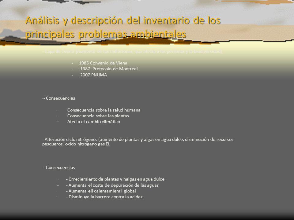 Análisis y descripción del inventario de los principales problemas ambientales - Capa de Ozono (Aumento de las radiaciones que afecta a las personas y