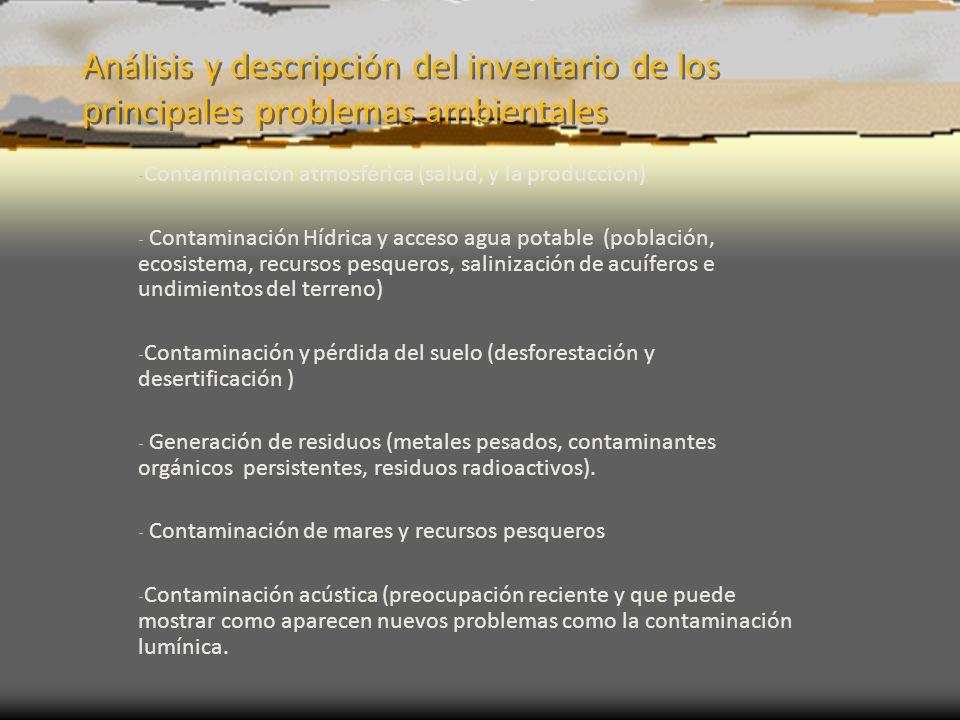 Análisis y descripción del inventario de los principales problemas ambientales - Contaminación atmosférica (salud, y la producción) - Contaminación Hí