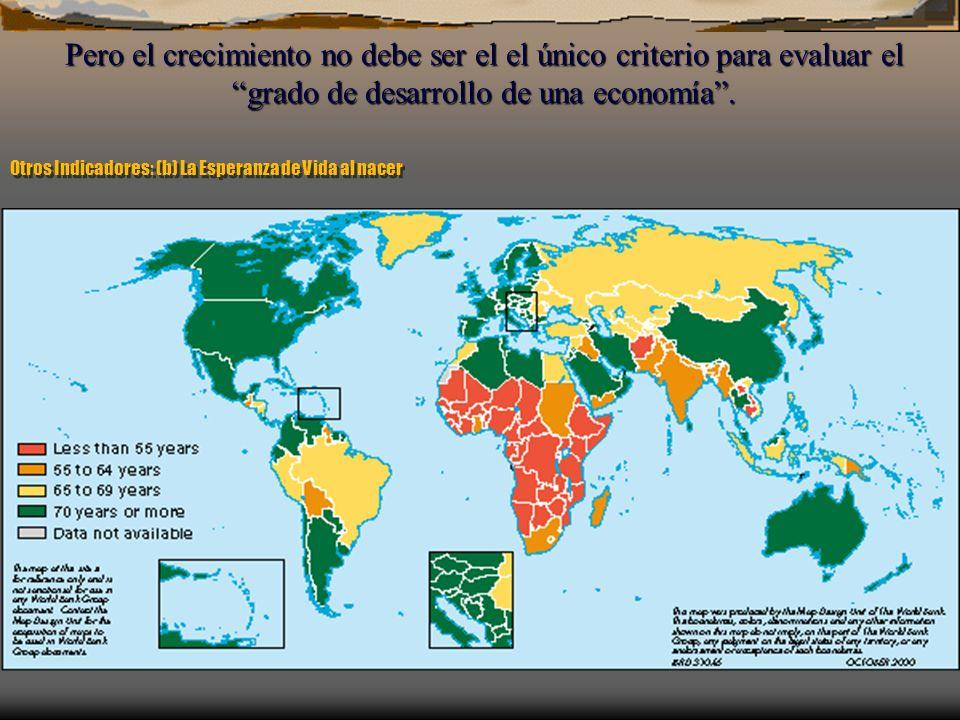 Otros Indicadores: (b) La Esperanza de Vida al nacer Pero el crecimiento no debe ser el el único criterio para evaluar elgrado de desarrollo de una ec