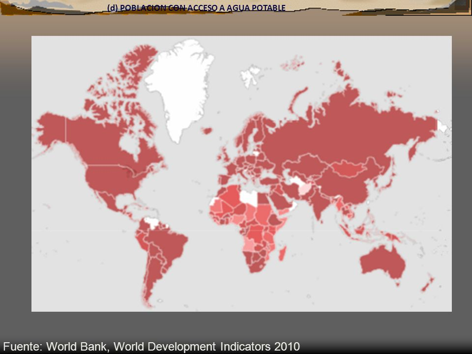 (d) POBLACION CON ACCESO A AGUA POTABLE Fuente: World Bank, World Development Indicators 2010