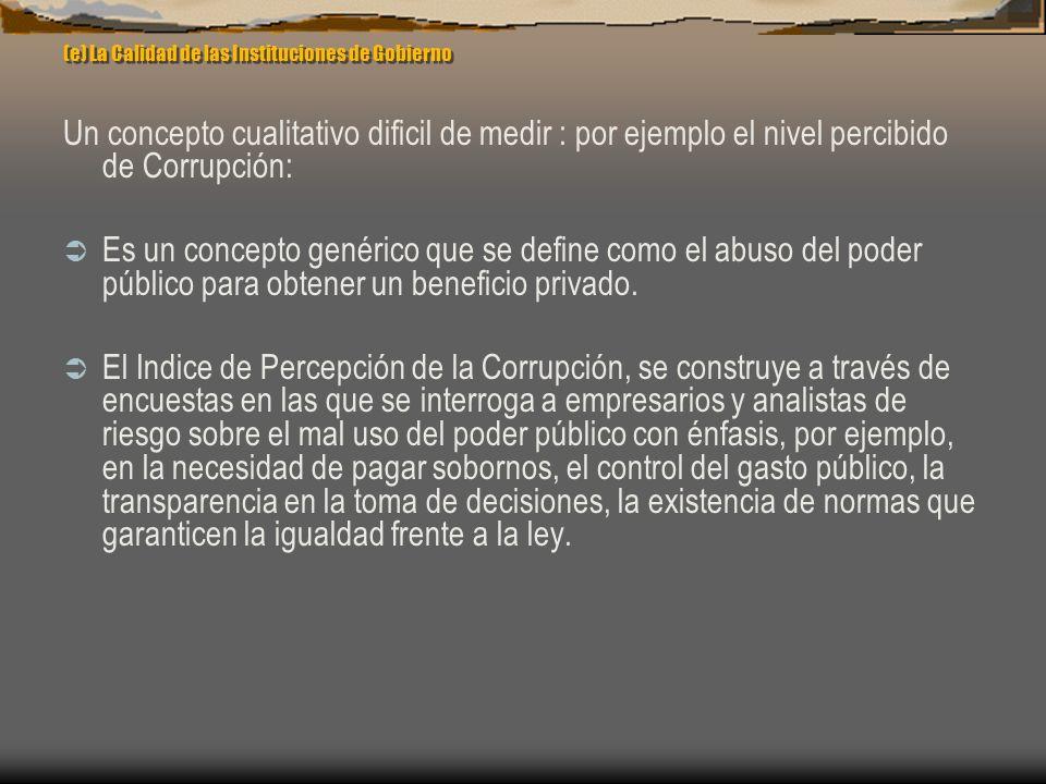 (e) La Calidad de las Instituciones de Gobierno Un concepto cualitativo dificil de medir : por ejemplo el nivel percibido de Corrupción: Es un concept