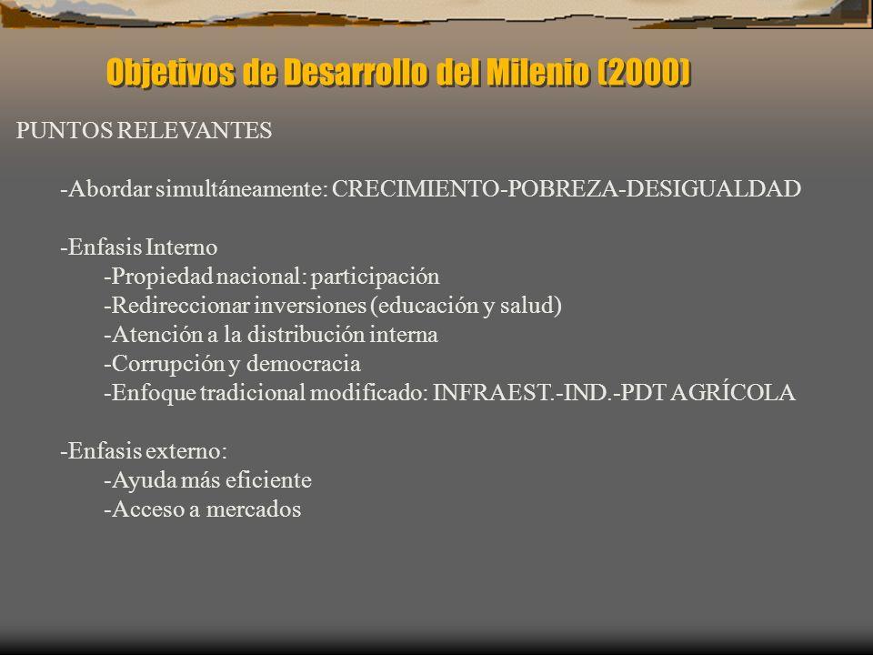 Objetivos de Desarrollo del Milenio (2000) PUNTOS RELEVANTES -Abordar simultáneamente: CRECIMIENTO-POBREZA-DESIGUALDAD -Enfasis Interno -Propiedad nac