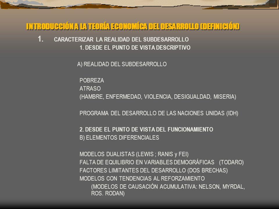INTRODUCCIÓN A LA TEORÍA ECONOMÍCA DEL DESARROLLO (DEFINICIÓN) 1. CARACTERIZAR LA REALIDAD DEL SUBDESARROLLO 1. DESDE EL PUNTO DE VISTA DESCRIPTIVO A)