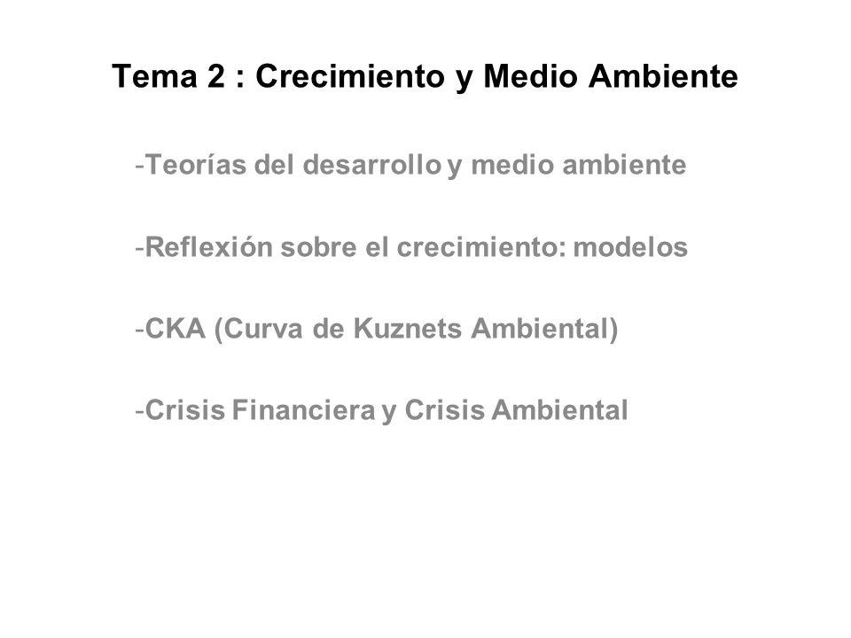 Tema 2 : Crecimiento y Medio Ambiente -Teorías del desarrollo y medio ambiente -Reflexión sobre el crecimiento: modelos -CKA (Curva de Kuznets Ambient