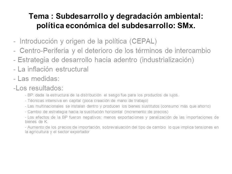 Tema : Subdesarrollo y degradación ambiental: política económica del subdesarrollo: SMx. - Introducción y origen de la política (CEPAL) - Centro-Perif