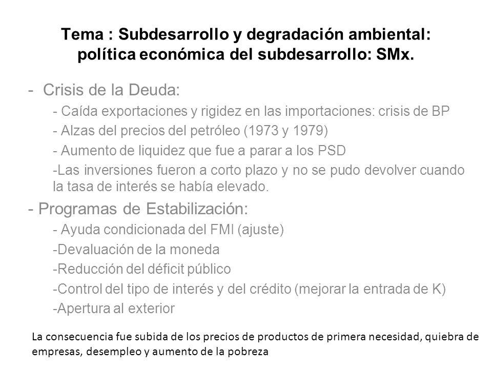 Tema : Subdesarrollo y degradación ambiental: política económica del subdesarrollo: SMx. - Crisis de la Deuda: - Caída exportaciones y rigidez en las