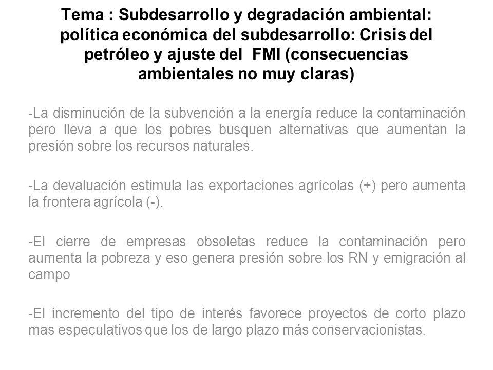 Tema : Subdesarrollo y degradación ambiental: política económica del subdesarrollo: Crisis del petróleo y ajuste del FMI (consecuencias ambientales no