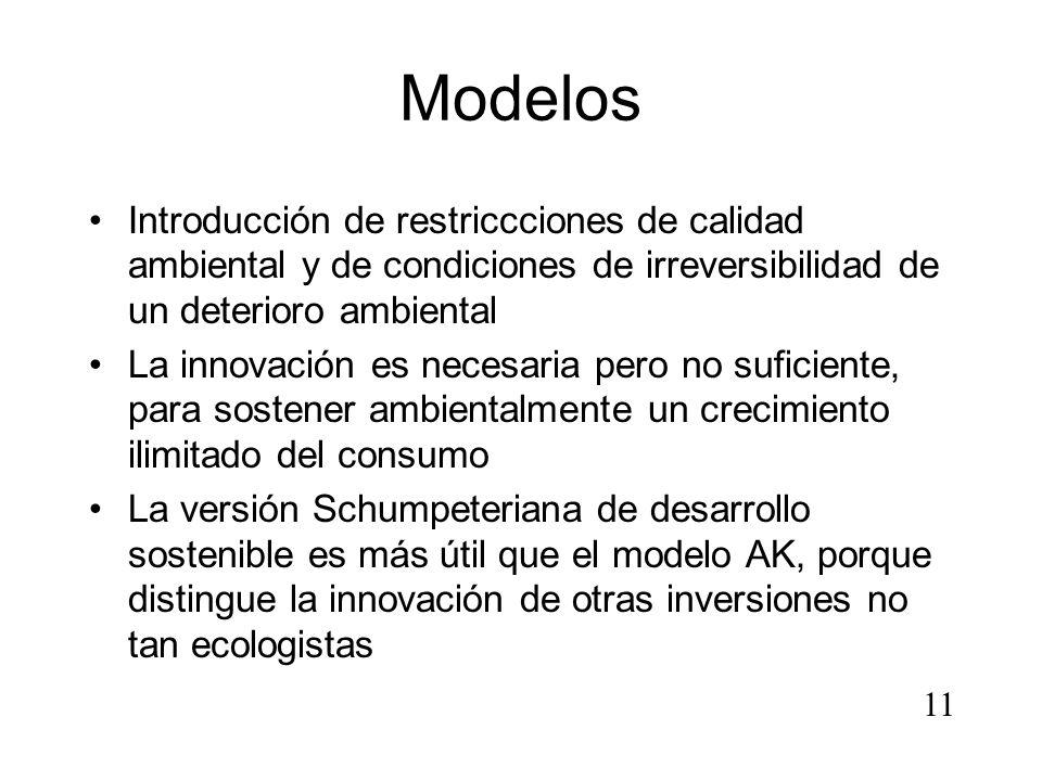 Modelos Introducción de restriccciones de calidad ambiental y de condiciones de irreversibilidad de un deterioro ambiental La innovación es necesaria