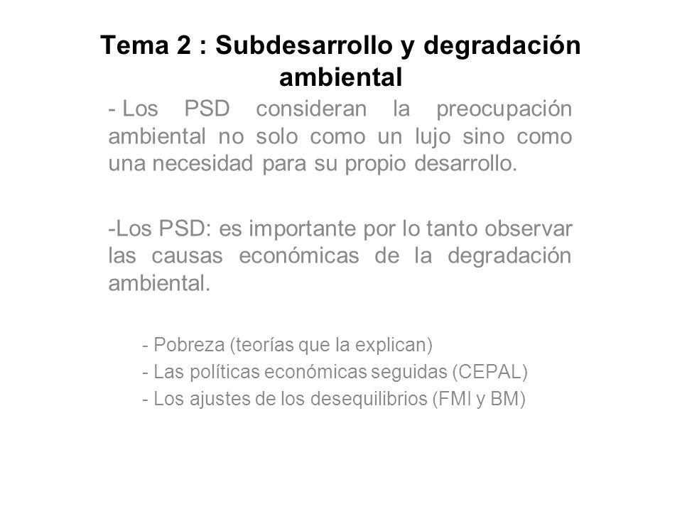 Tema 2 : Subdesarrollo y degradación ambiental - Los PSD consideran la preocupación ambiental no solo como un lujo sino como una necesidad para su pro