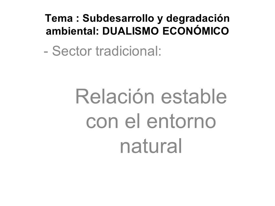 Tema : Subdesarrollo y degradación ambiental: DUALISMO ECONÓMICO - Sector tradicional: Relación estable con el entorno natural