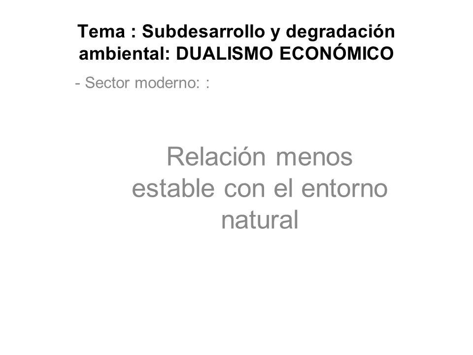Tema : Subdesarrollo y degradación ambiental: DUALISMO ECONÓMICO - Sector moderno: : Relación menos estable con el entorno natural
