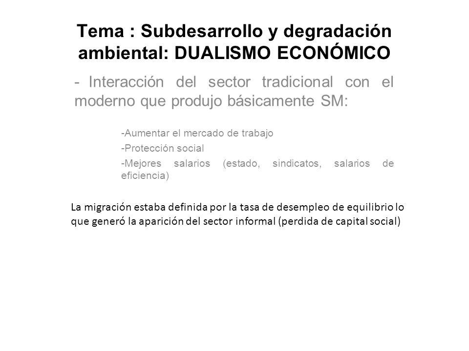 Tema : Subdesarrollo y degradación ambiental: DUALISMO ECONÓMICO - Interacción del sector tradicional con el moderno que produjo básicamente SM: -Aume
