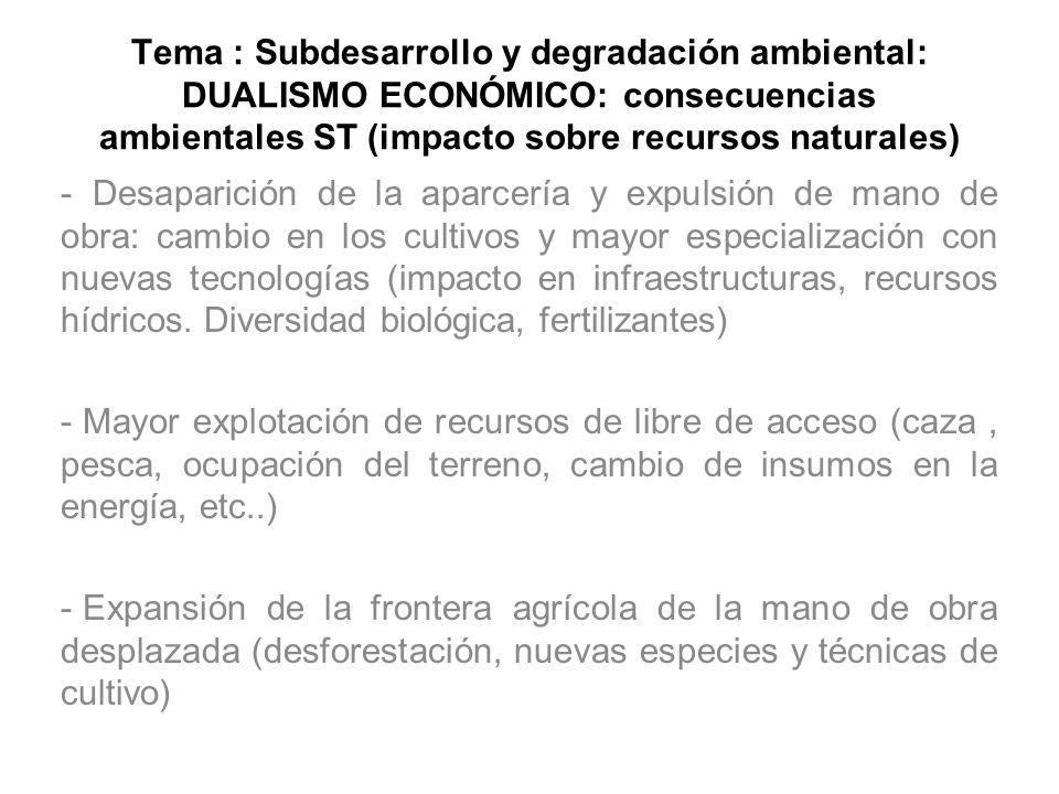 Tema : Subdesarrollo y degradación ambiental: DUALISMO ECONÓMICO: consecuencias ambientales ST (impacto sobre recursos naturales) - Desaparición de la