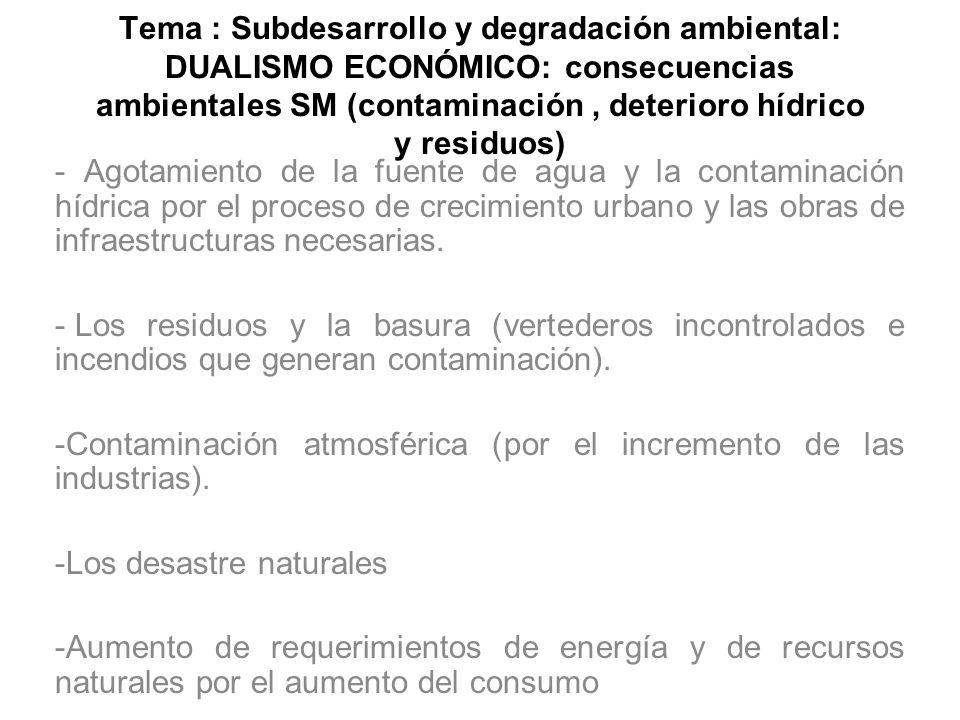 Tema : Subdesarrollo y degradación ambiental: DUALISMO ECONÓMICO: consecuencias ambientales SM (contaminación, deterioro hídrico y residuos) - Agotami