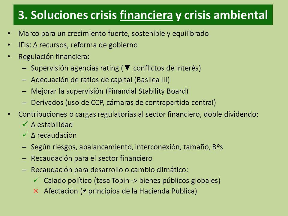 3. Soluciones crisis financiera y crisis ambiental Marco para un crecimiento fuerte, sostenible y equilibrado IFIs: recursos, reforma de gobierno Regu