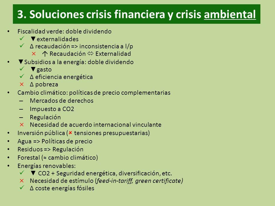 3. Soluciones crisis financiera y crisis ambiental Fiscalidad verde: doble dividendo externalidades recaudación => inconsistencia a l/p × Recaudación