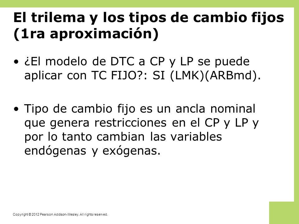 El trilema y los tipos de cambio fijos (1ra aproximación) ¿El modelo de DTC a CP y LP se puede aplicar con TC FIJO?: SI (LMK)(ARBmd). Tipo de cambio f