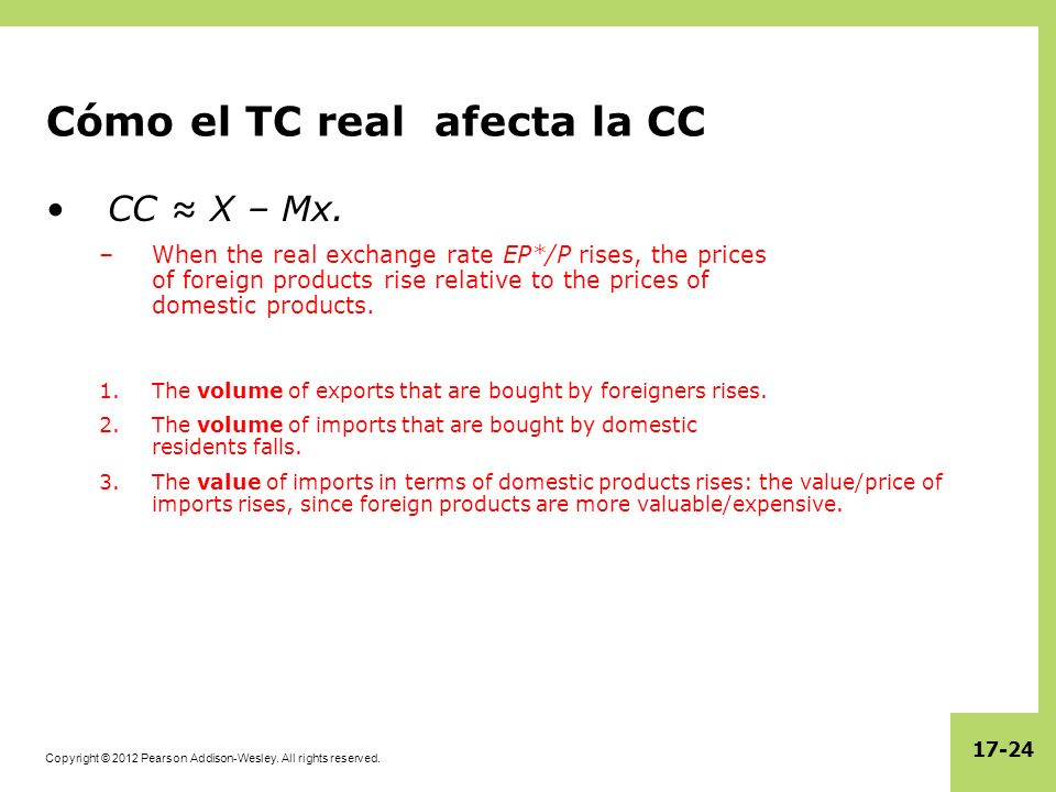 Copyright © 2012 Pearson Addison-Wesley. All rights reserved. 17-24 Cómo el TC real afecta la CC CC X – Mx. –When the real exchange rate EP*/P rises,