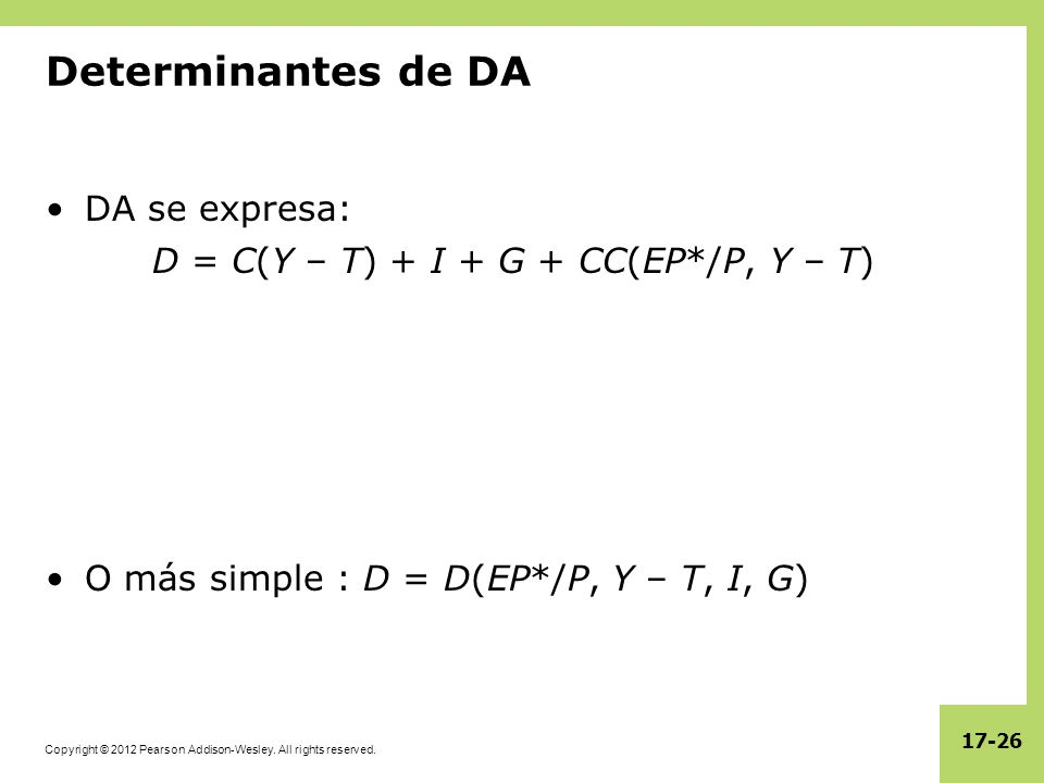 Copyright © 2012 Pearson Addison-Wesley. All rights reserved. 17-26 Determinantes de DA DA se expresa: D = C(Y – T) + I + G + CC(EP*/P, Y – T) O más s