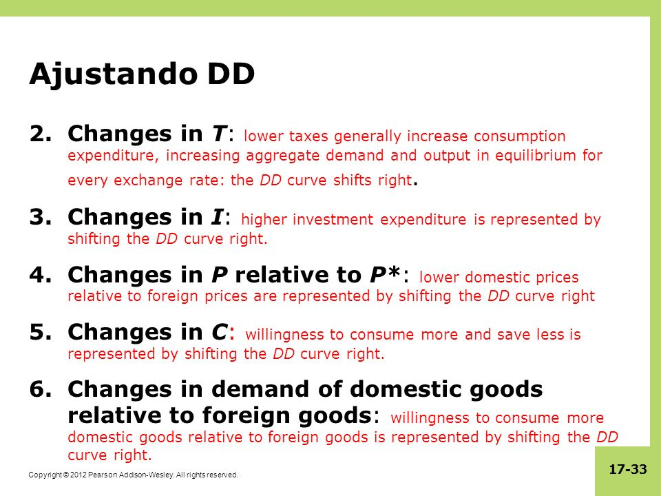 Copyright © 2012 Pearson Addison-Wesley. All rights reserved. 17-33 Ajustando DD 2.Changes in T: lower taxes generally increase consumption expenditur