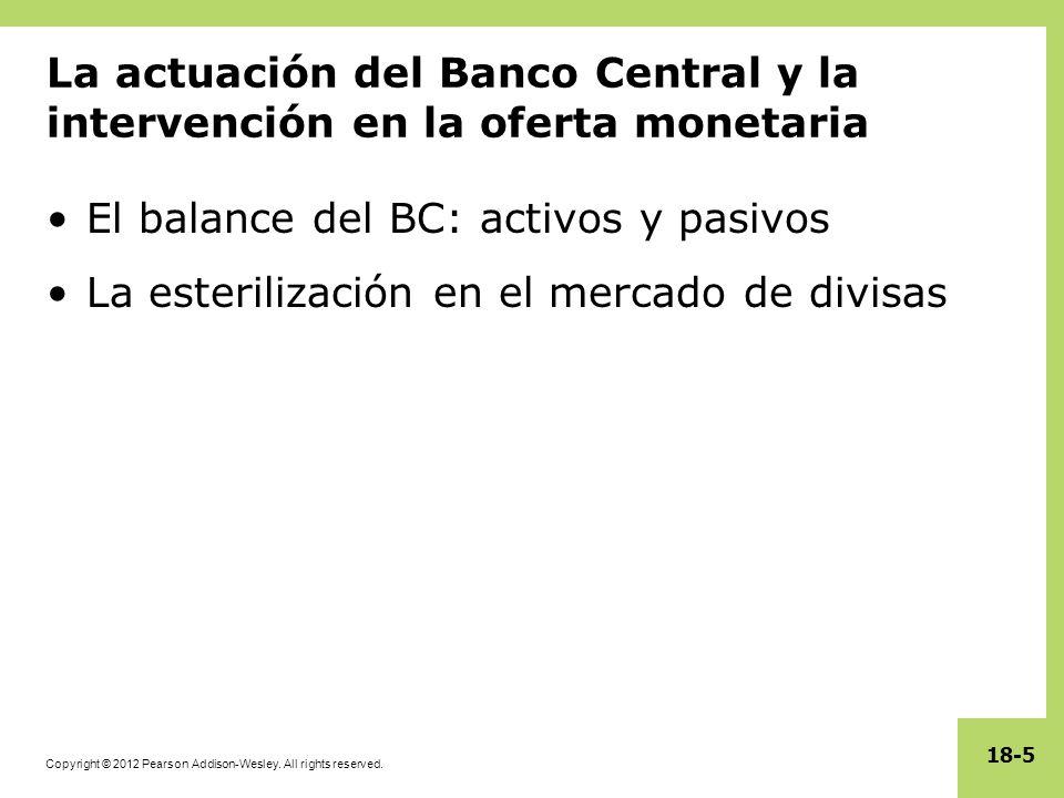 Copyright © 2012 Pearson Addison-Wesley. All rights reserved. 18-5 La actuación del Banco Central y la intervención en la oferta monetaria El balance