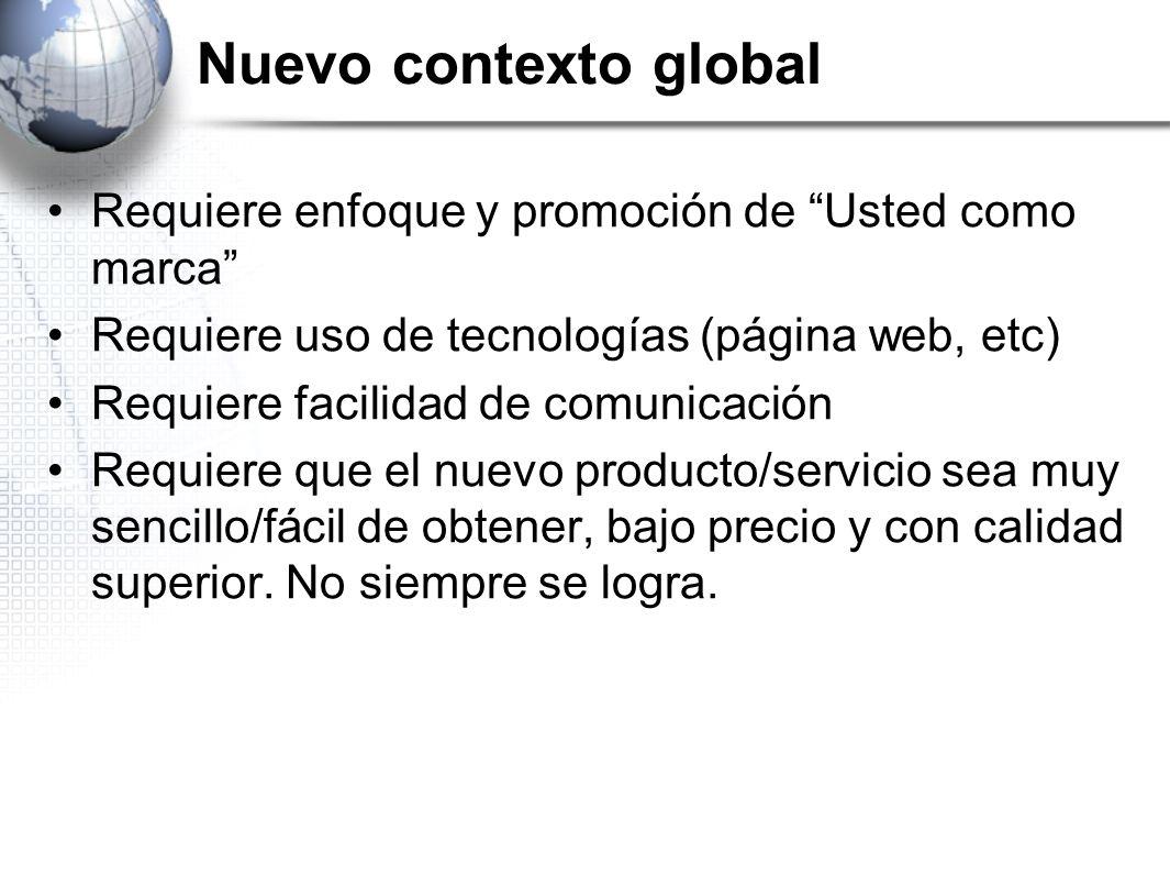 Nuevo contexto global Requiere enfoque y promoción de Usted como marca Requiere uso de tecnologías (página web, etc) Requiere facilidad de comunicació